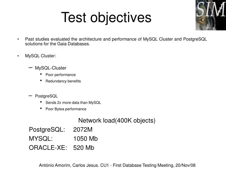 Test objectives