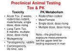 preclinical animal testing tox pk
