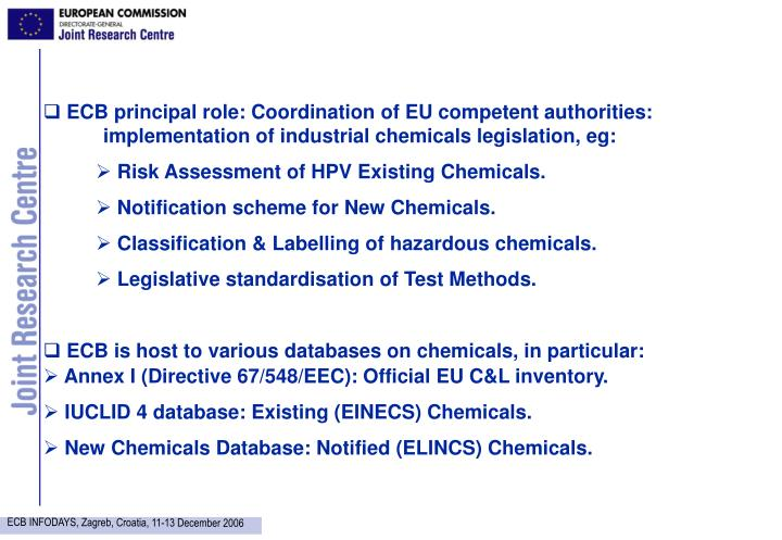 ECB principal role: Coordination of EU competent authorities: 	implementation of industrial chemica...