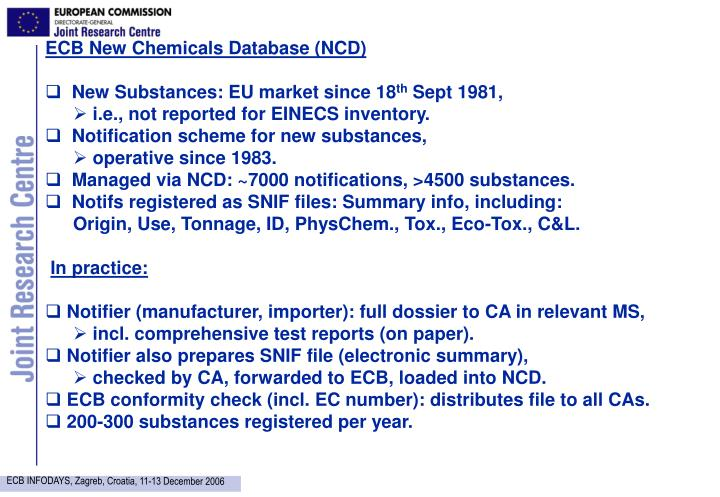 ECB New Chemicals Database (NCD)