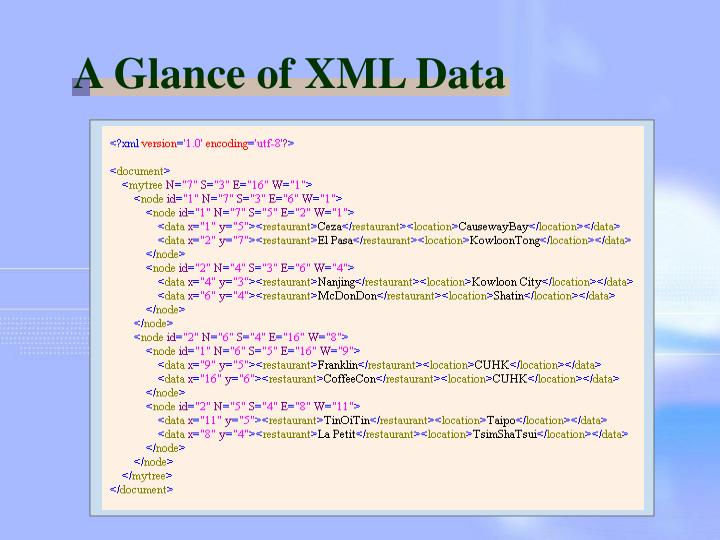 A Glance of XML Data