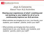joys concerns about your al activities