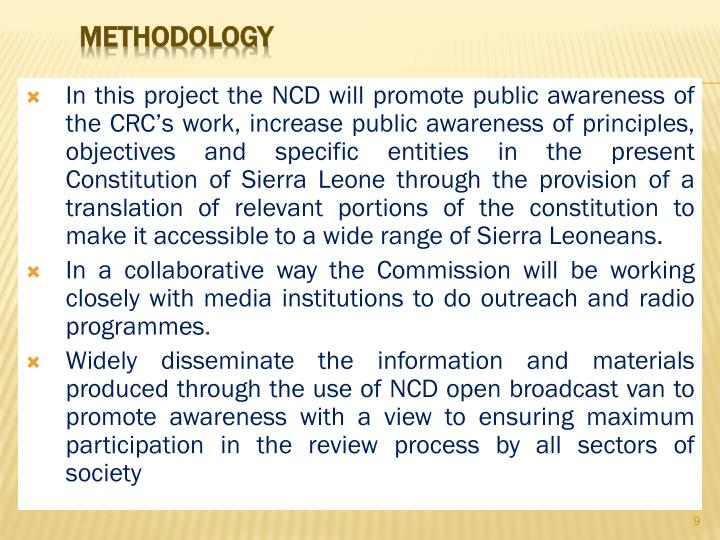 In this project the NCD will promote public awareness of the