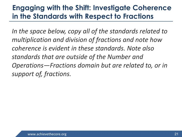 Engaging with the Shift: Investigate Coherence in the Standards with Respect to Fractions