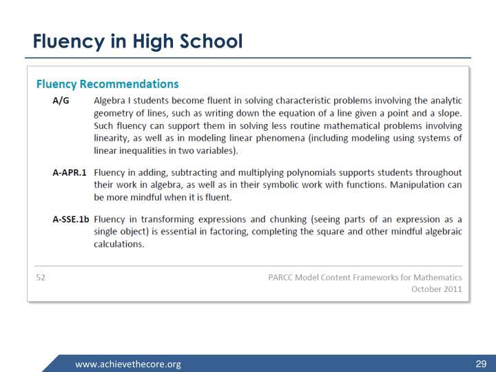 Fluency in High School