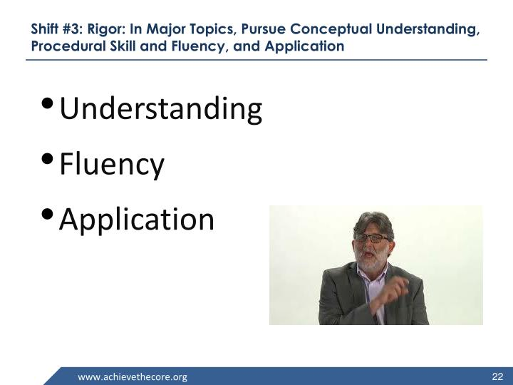 Shift #3: Rigor: In Major Topics, Pursue Conceptual Understanding, Procedural Skill and Fluency, and Application