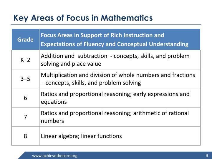 Key Areas of Focus in Mathematics
