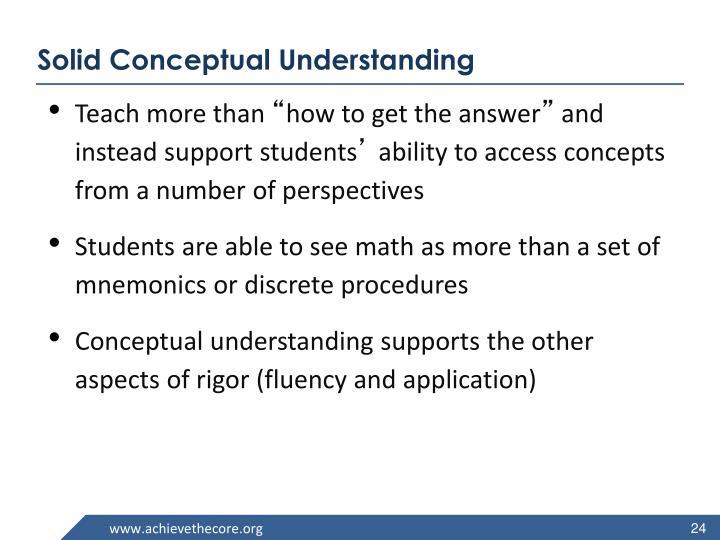 Solid Conceptual Understanding
