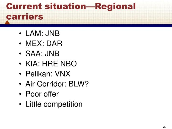 Current situation—Regional carriers