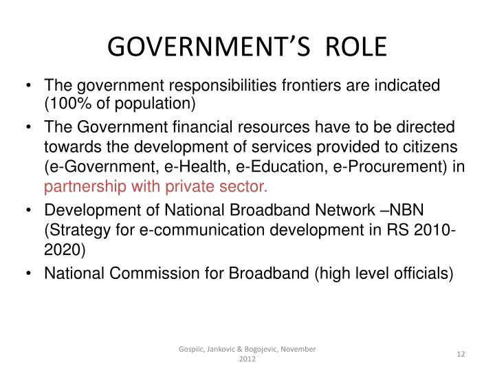 GOVERNMENT'S  ROLE