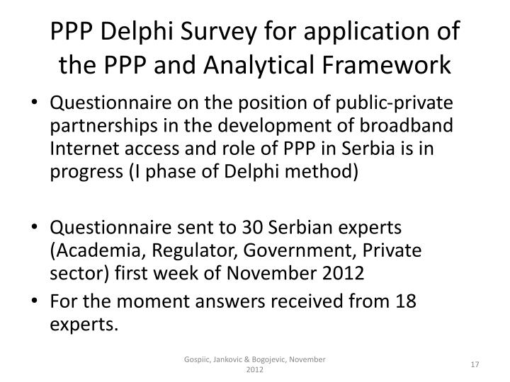 PPP Delphi Survey for application of the PPP and Analytical Framework