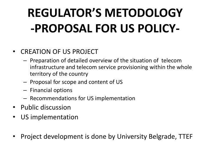 Regulator s metodology proposal for us policy