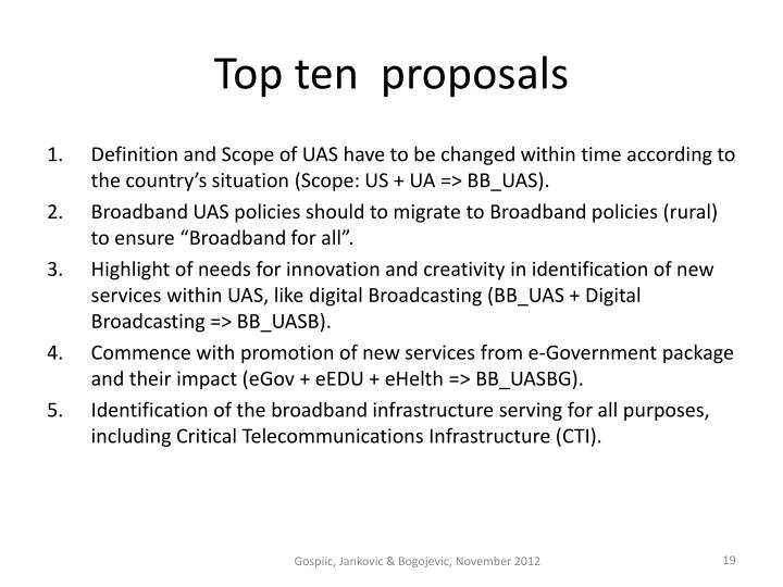 Top ten  proposals