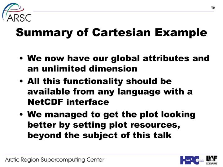Summary of Cartesian Example