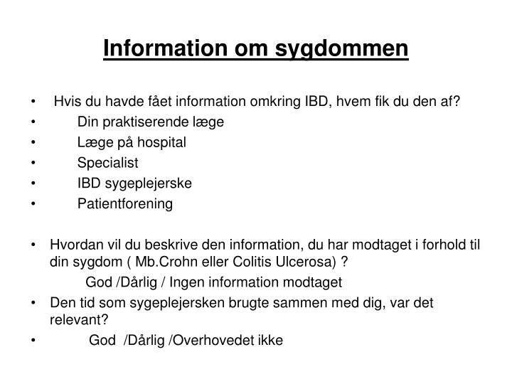 Information om sygdommen