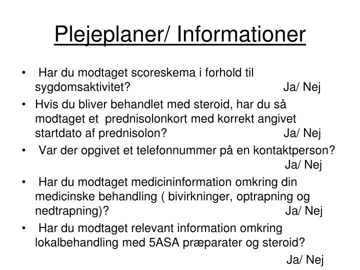 Plejeplaner/ Informationer