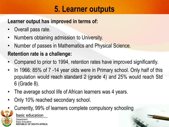 5. Learner outputs