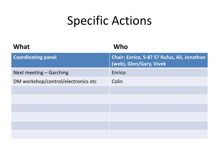 Specific Actions