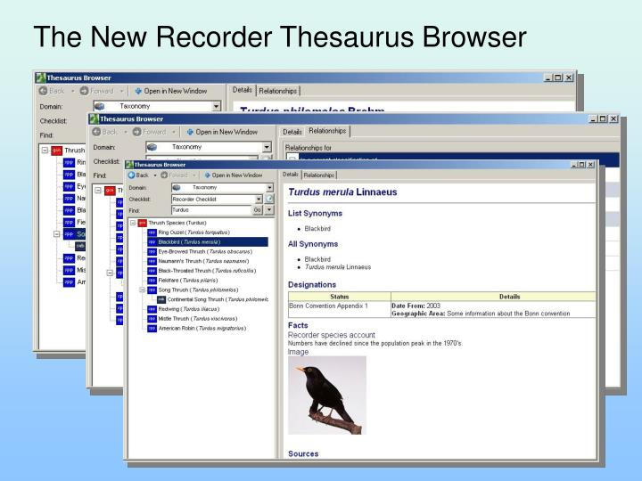 The New Recorder Thesaurus Browser