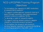 ncd lifespan training program objectives
