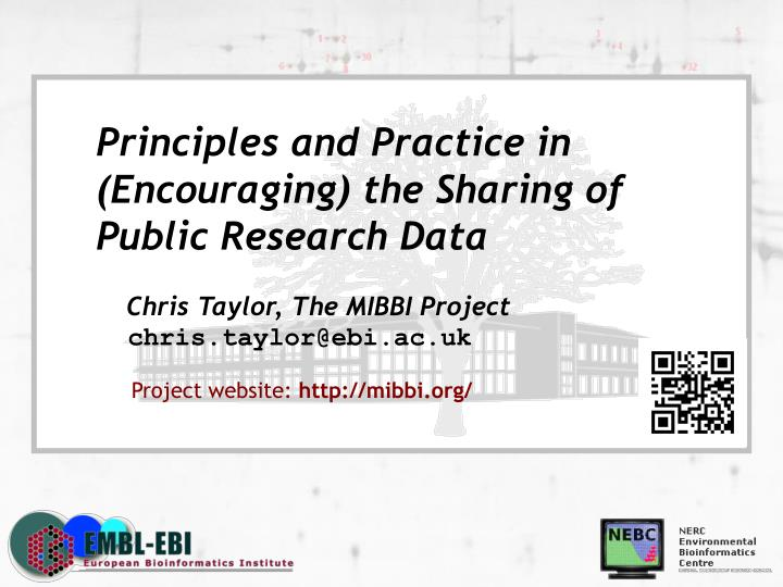 Principles and Practice in (Encouraging) the Sharing of