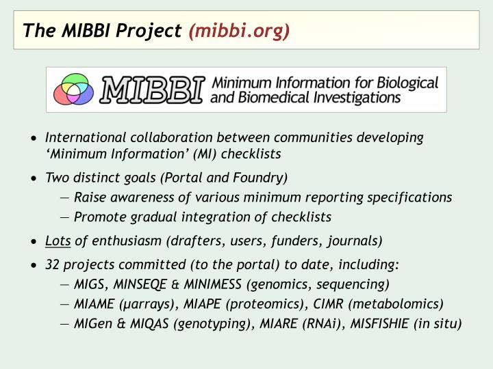 The MIBBI Project