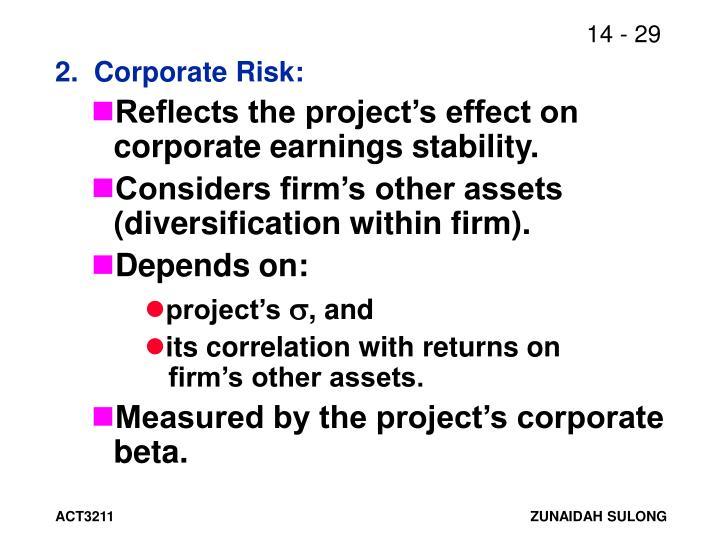 2.  Corporate Risk: