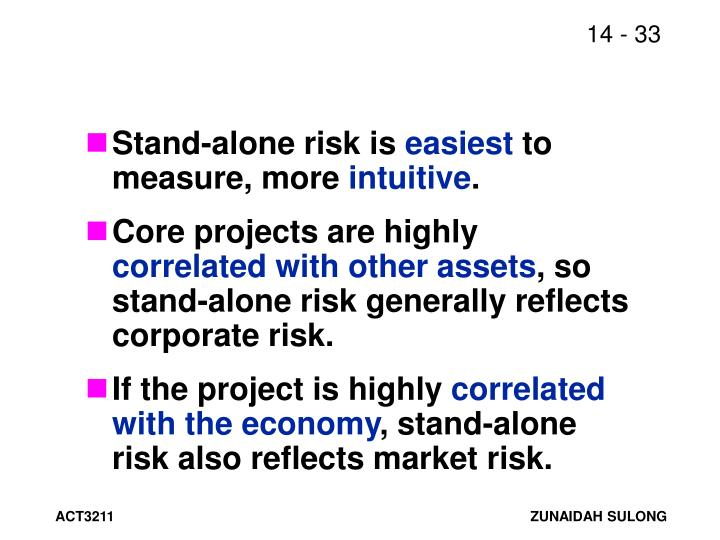 Stand-alone risk is