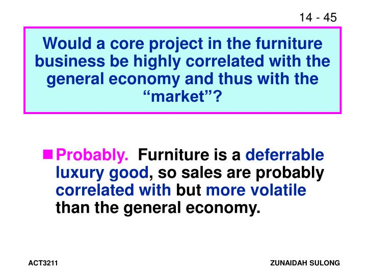 """Would a core project in the furniture business be highly correlated with the general economy and thus with the """"market""""?"""