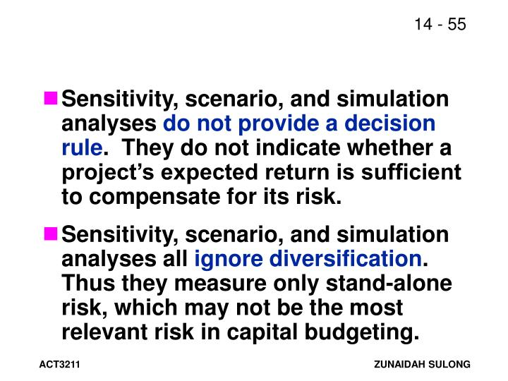 Sensitivity, scenario, and simulation analyses