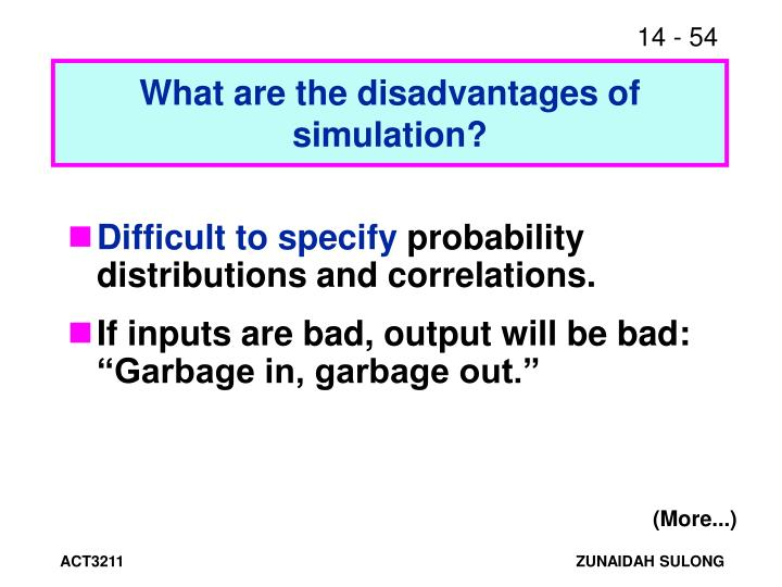 What are the disadvantages of simulation?
