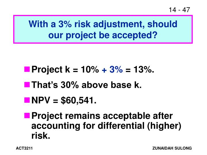 With a 3% risk adjustment, should