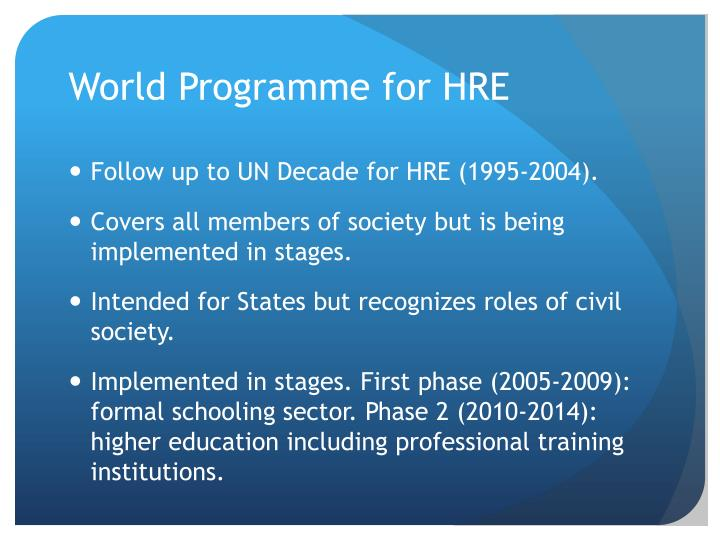 World Programme for HRE