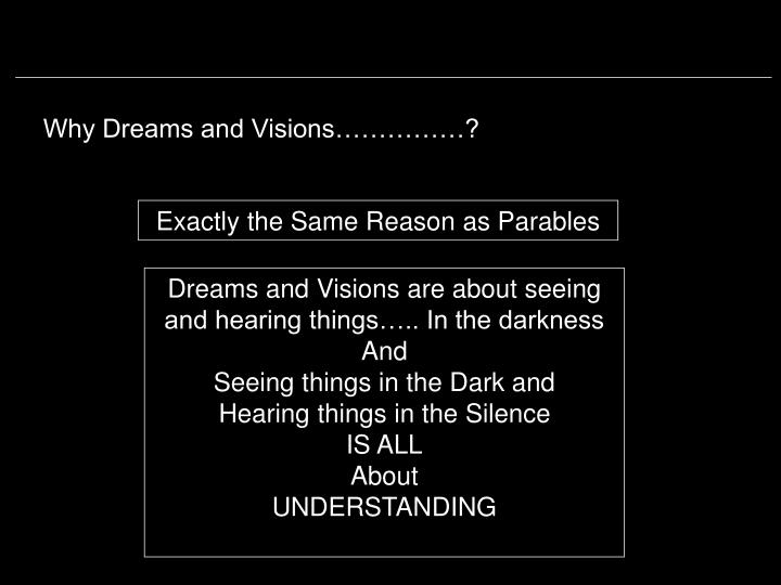 Why Dreams and Visions……………?