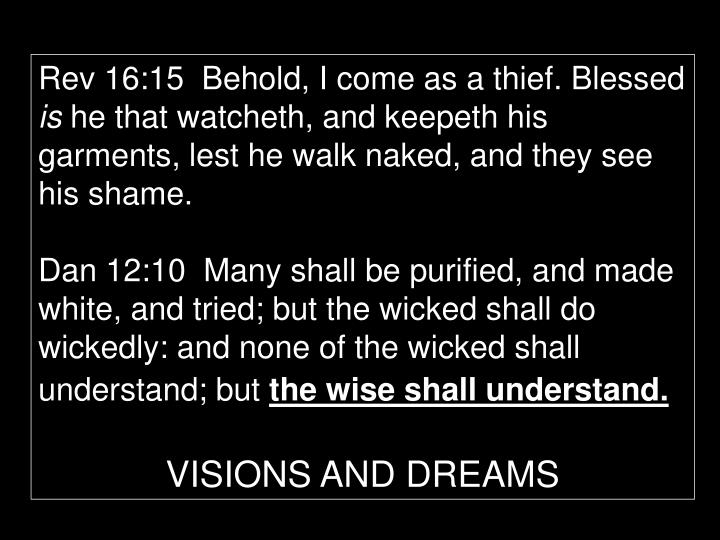 Rev 16:15  Behold, I come as a thief. Blessed