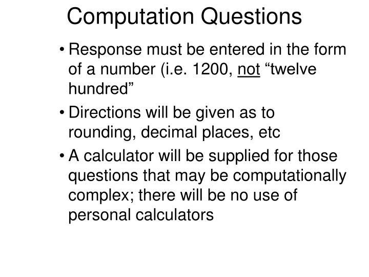 Computation Questions