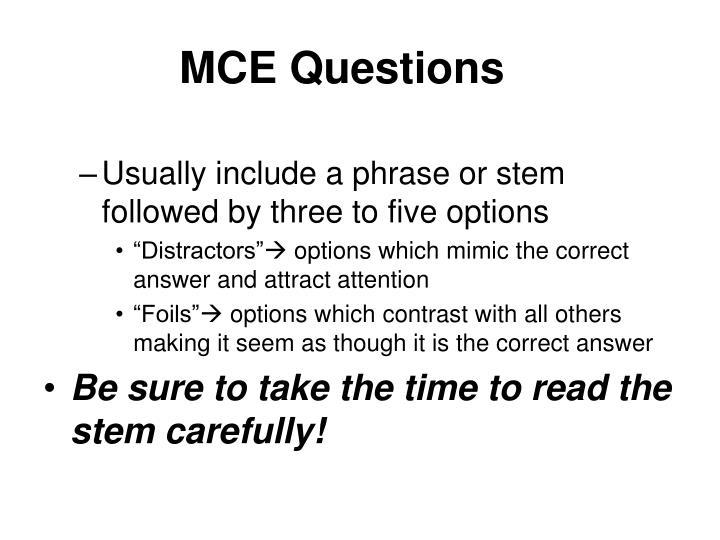MCE Questions