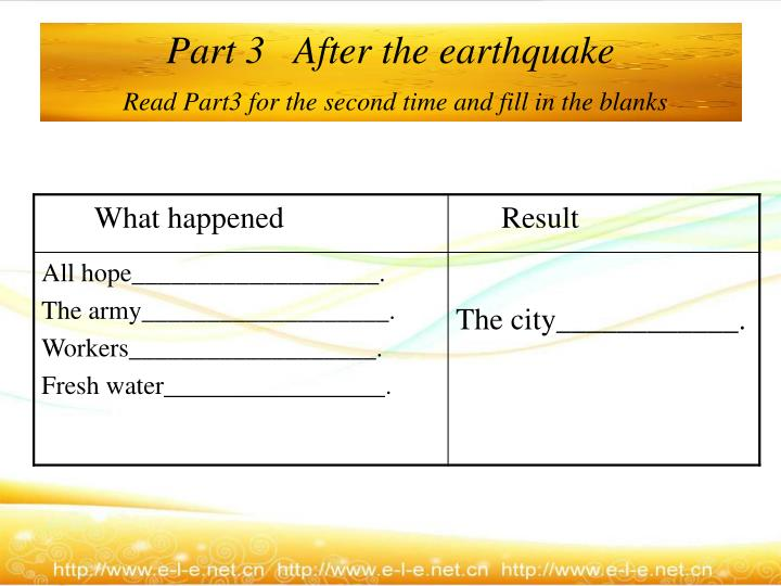 Part 3   After the earthquake