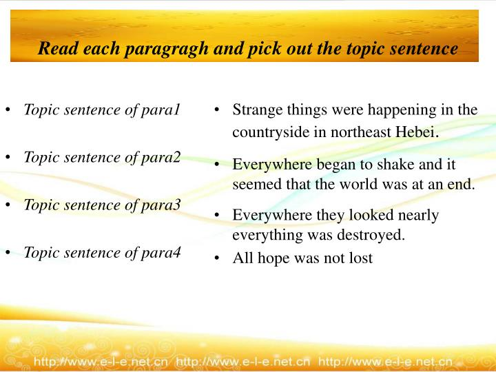 Read each paragragh and pick out the topic sentence