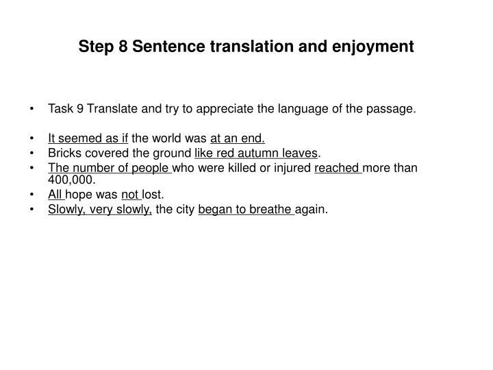 Step 8 Sentence translation and enjoyment