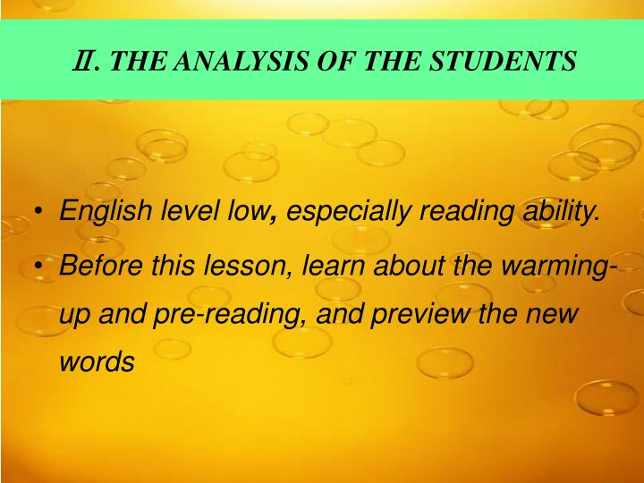 Ⅱ. THE ANALYSIS OF THE STUDENTS