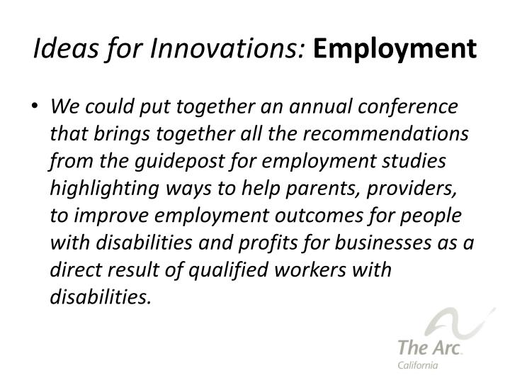 Ideas for Innovations: