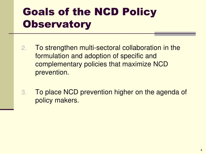 Goals of the NCD Policy Observatory