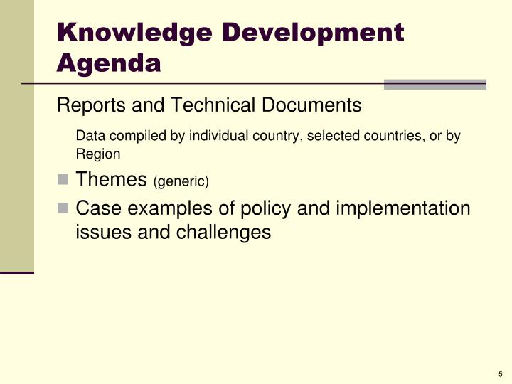 Knowledge Development  Agenda