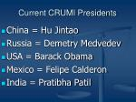 current crumi presidents