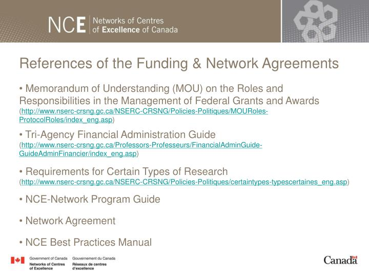 References of the Funding & Network Agreements