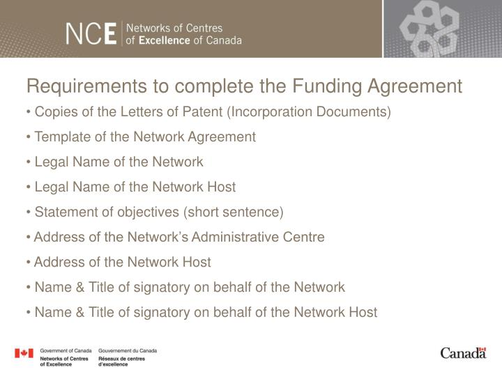 Requirements to complete the Funding Agreement