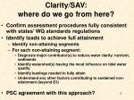 clarity sav where do we go from here