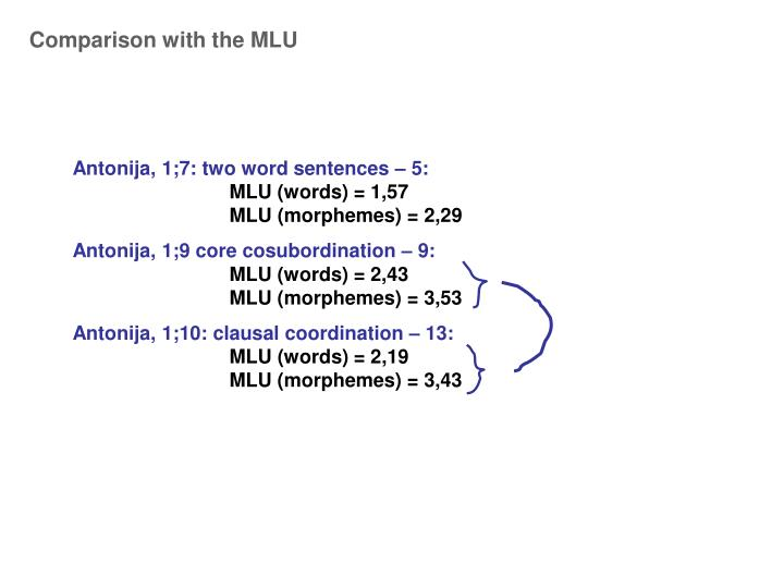 Comparison with the MLU
