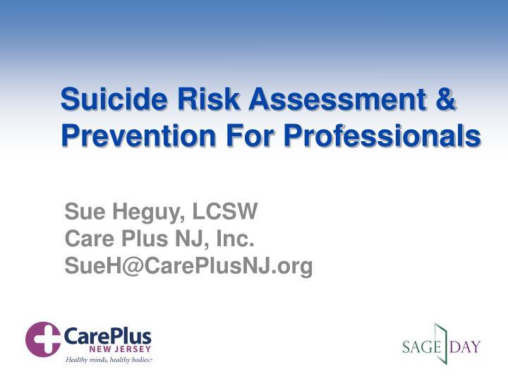 suicide risk assessment prevention for professionals n.
